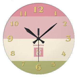 Relógio Grande A paleta de cores do verde do rosa do creme listra