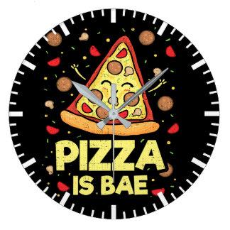 Relógio Grande A pizza é Bae - desenhos animados engraçados -