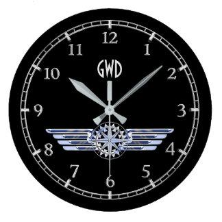 Relógio Grande A prata do piloto do ar do monograma voa o