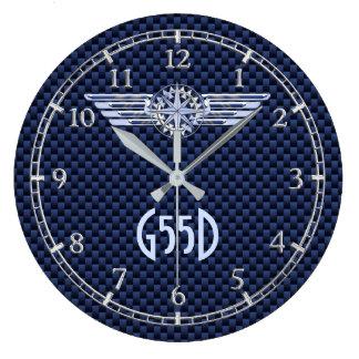 Relógio Grande A prata do piloto do ar do monograma voa o azul do