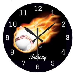 Relógio Grande A sala do menino do basebol personalizada