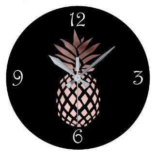 Relógio Grande abacaxi tropical do ouro cor-de-rosa claro