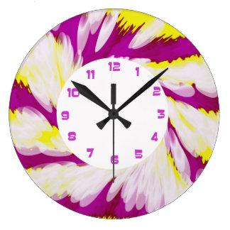 Relógio Grande Abstrato branco amarelo cor-de-rosa Groovy do