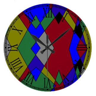Relógio Grande Abstrato colorido retro do diamante