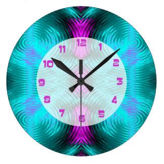 Relógio Grande Abstrato cor-de-rosa da circular de turquesa