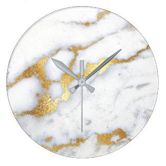 Relógio Grande Abstrato de mármore cinzento branco Lux1 da pedra