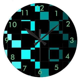 Relógio Grande Abstrato do preto de turquesa da forma da casa da