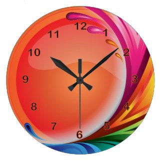 Relógio Grande Abstrato retro colorido brilhante
