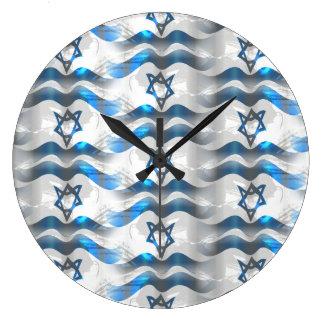 Relógio Grande Acene sua bandeira israelita