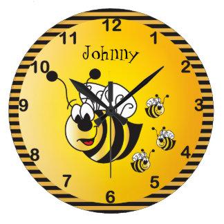 Relógio Grande Adoráveis bonitos Bumble abelhas com um amarelo do