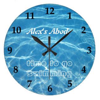 Relógio Grande Água fresca aquática azul da piscina que nada clar