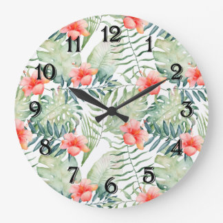 Relógio Grande Aguarela floral do hibiscus tropical das folhas