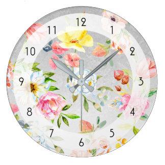 Relógio Grande Aguarela floral no fundo de prata do artesão