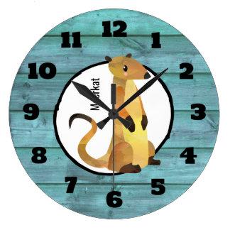 Relógio Grande Aguarela Meerkat em um fundo de madeira azul