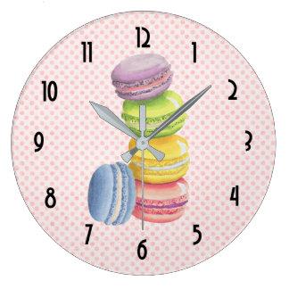 Relógio Grande Aguarelas francesas do Pastel da sobremesa de