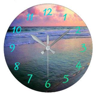 Relógio Grande Águas da costa do golfo do por do sol