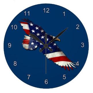 Relógio Grande Águia americana americana & de bandeira dos E.U.