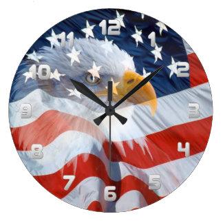 Relógio Grande Águia americana patriótica e a bandeira americana