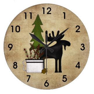 Relógio Grande Alces rústicos da silhueta da montanha do país