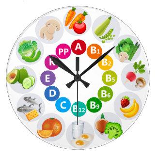 Relógio Grande Alimentos coloridos dos ricos da vitamina