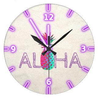 Relógio Grande Aloha abacaxi havaiano adorável