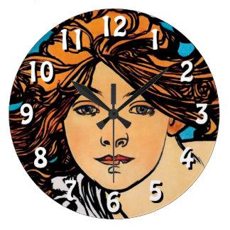 Relógio Grande Alphonse Mucha - arte retro Nouveau de Perfecta