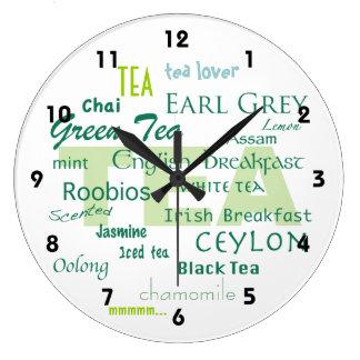 Relógio Grande Amante-Máscaras do chá da nuvem verde da palavra