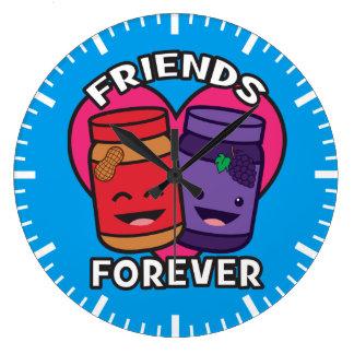 Relógio Grande Amigos para sempre - manteiga de amendoim e geléia
