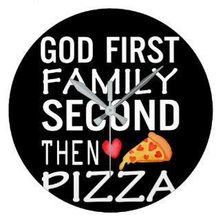 Relógio Grande Amor da pizza da família segunda do deus primeiro