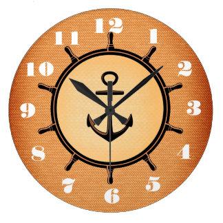 Relógio Grande Âncora à moda e bonita e roda náuticas