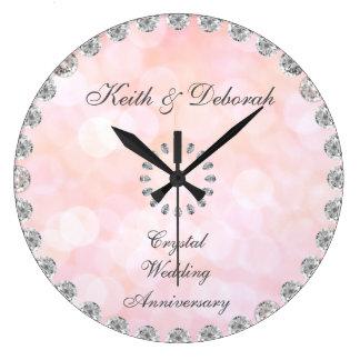 Relógio Grande Aniversário de casamento de cristal customizável
