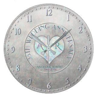 Relógio Grande Aniversário de casamento de prata do monograma do