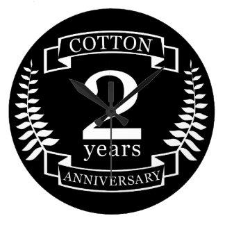 Relógio Grande Aniversário de casamento do algodão 2 anos casados