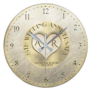 Relógio Grande Aniversário de casamento do monograma do coração