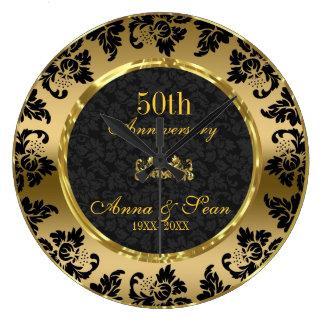 Relógio Grande Aniversário de casamento elegante do preto & do