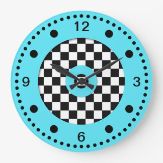 Relógio Grande Aqua retro das cores e tabuleiro de damas preto