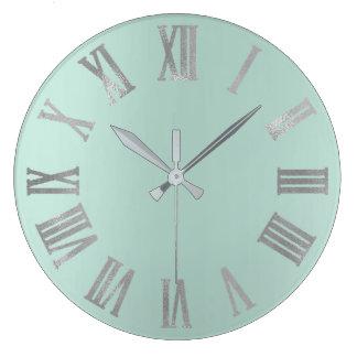 Relógio Grande Aqua Tiffany Numers romano metálico Pastel