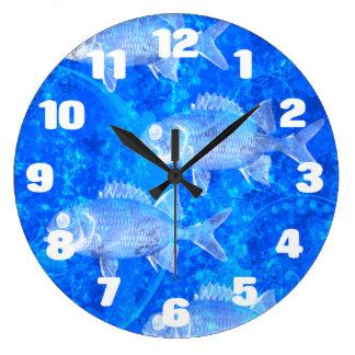 Relógio Grande Aquário azul dos peixes