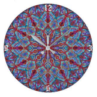 Relógio Grande arabesque colorido Boho-romântico do ornamento da