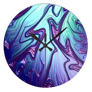 Relógio Grande Arte abstracta 3D metálica iridescente azul roxa