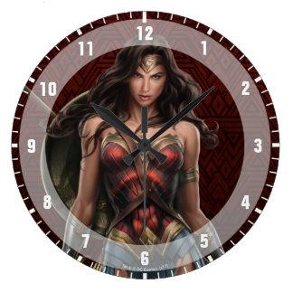 Relógio Grande Arte cómica Batalha-Pronta da mulher maravilha