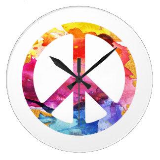 Relógio Grande Arte da aguarela da menina 70s do Hippie do sinal