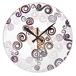Relógio Grande Arte de roda roxa Groovy