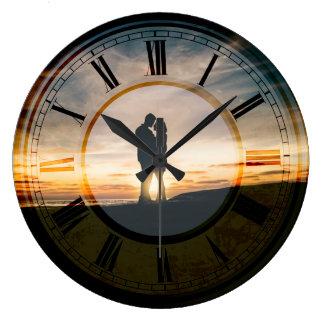 Relógio Grande Arte do pulso de disparo da praia do por do sol do