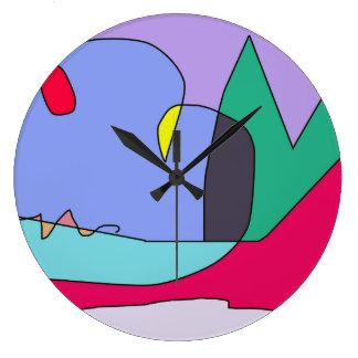 Relógio Grande Arte moderna redonda do pulso de disparo Home