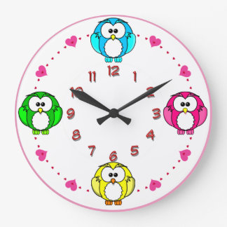 Relógio Grande as corujas bonitos cronometram azul de néon,