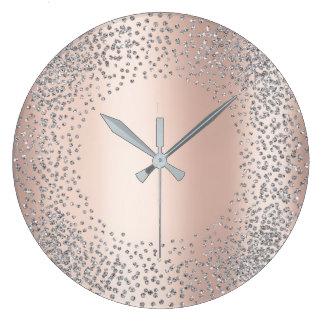 Relógio Grande As gemas do brilho dos confetes dos cristais das