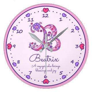 Relógio Grande As meninas dos corações do monograma B nomeiam o