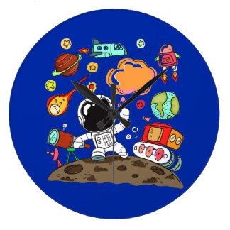 Relógio Grande Astronauta futuro, espaço, planetas, Rocket.