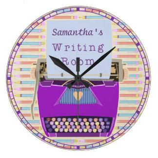 Relógio Grande Autor personalizado sala da escrita da máquina de